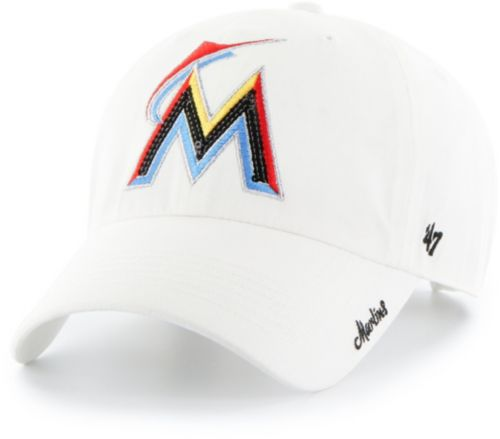 47 Women s Miami Marlins Sparkle Clean Up White Adjustable Hat ... 87e70b2627