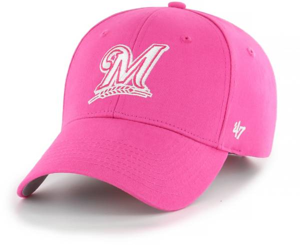 '47 Youth Girls' Milwaukee Brewers Basic Pink Adjustable Hat product image
