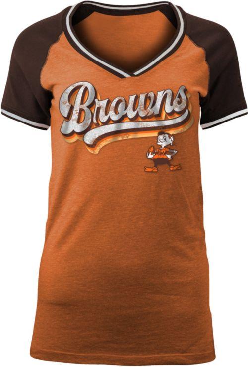 NFL Team Apparel Women s Cleveland Browns Retro Glitter T-Shirt.  noImageFound. 1 df6991679