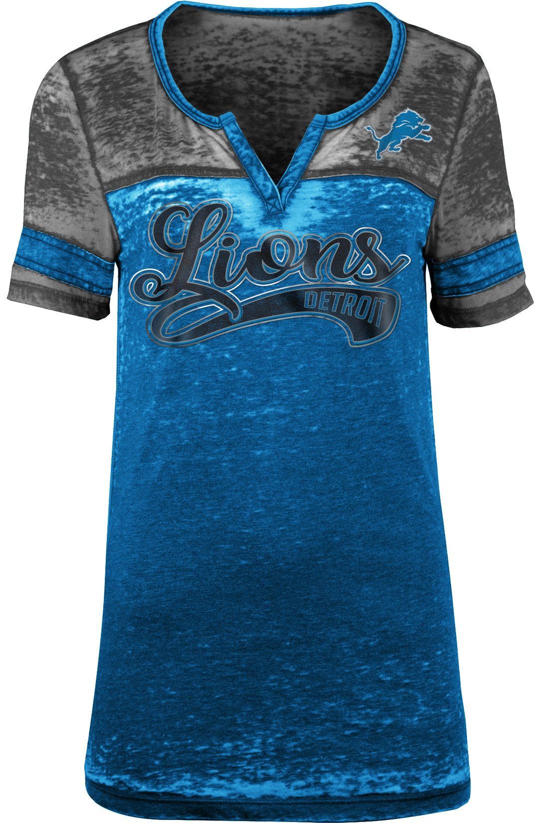 cca3b7fa7db2 NFL Team Apparel Women's Detroit Lions Foil Burnout V-Neck T-Shirt ...