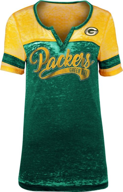 NFL Team Apparel Women s Green Bay Packers Foil Burnout V-Neck T ... 2d5f2ea0aa
