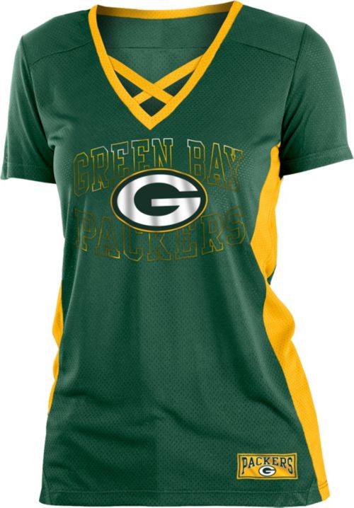 NFL Team Apparel Women s Green Bay Packers Mesh Lace Green T-Shirt ... 817474d077