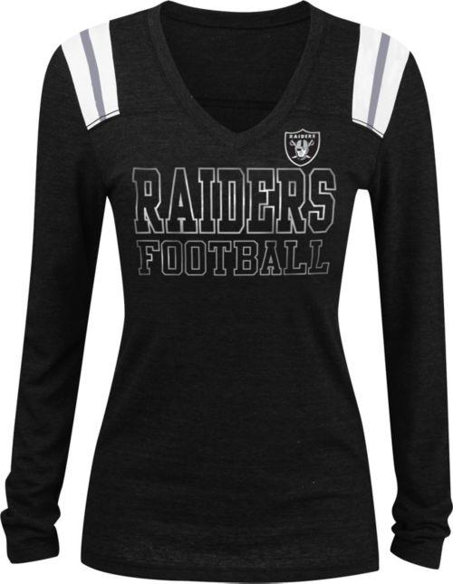 NFL Team Apparel Women s Oakland Raiders Tri-Blend Foil Black Long Sleeve  Shirt. noImageFound. 1 3d45a72d6