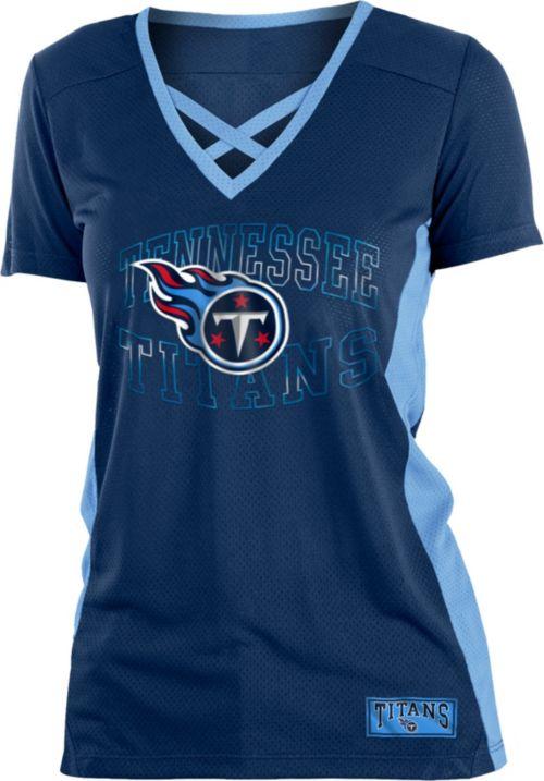 05e3159dd7f NFL Team Apparel Women s Tennessee Titans Mesh Lace Navy T-Shirt.  noImageFound. 1