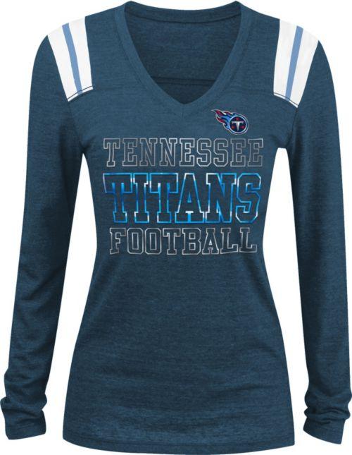 NFL Team Apparel Women s Tennessee Titans Tri-Blend Foil Navy Long ... 23e60d86e