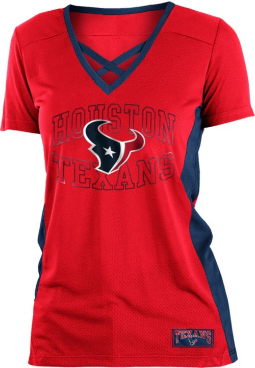 NFL Team Apparel Women s Houston Texans Mesh Lace Red T-Shirt ... 0adfcb8dd