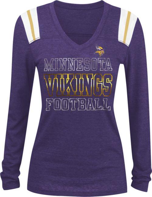 e2d36f67f72 NFL Team Apparel Women s Minnesota Vikings Tri-Blend Foil Purple Long  Sleeve Shirt