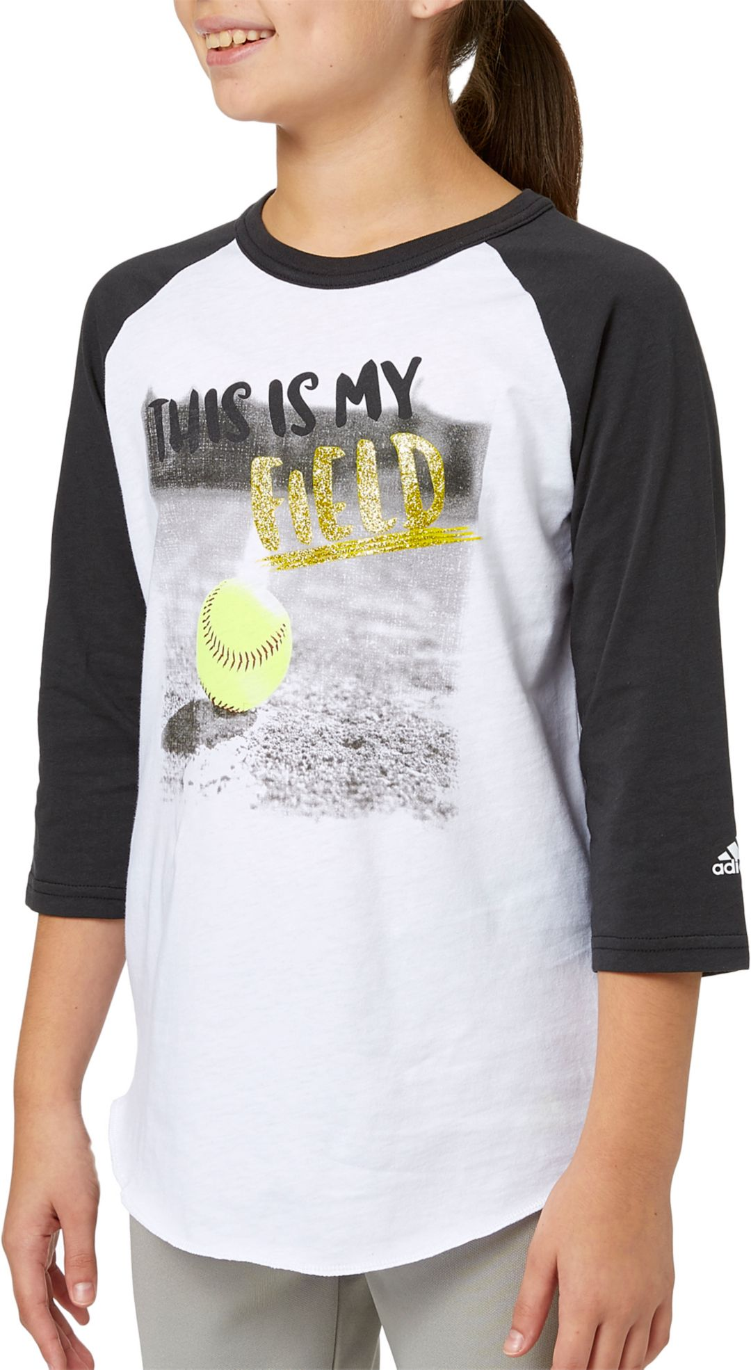 fa4c6c14a939 adidas Girls' My Field ¾ Sleeve Softball Shirt   DICK'S Sporting Goods