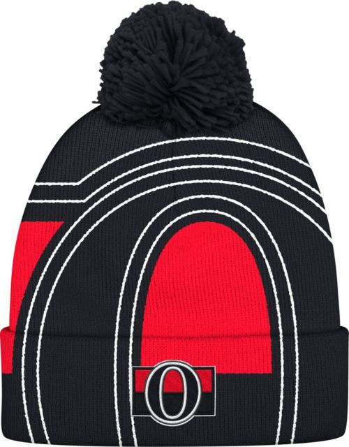 adidas Men s Ottawa Senators Logo Black Pom Knit Beanie. noImageFound.  Previous f974ec14409