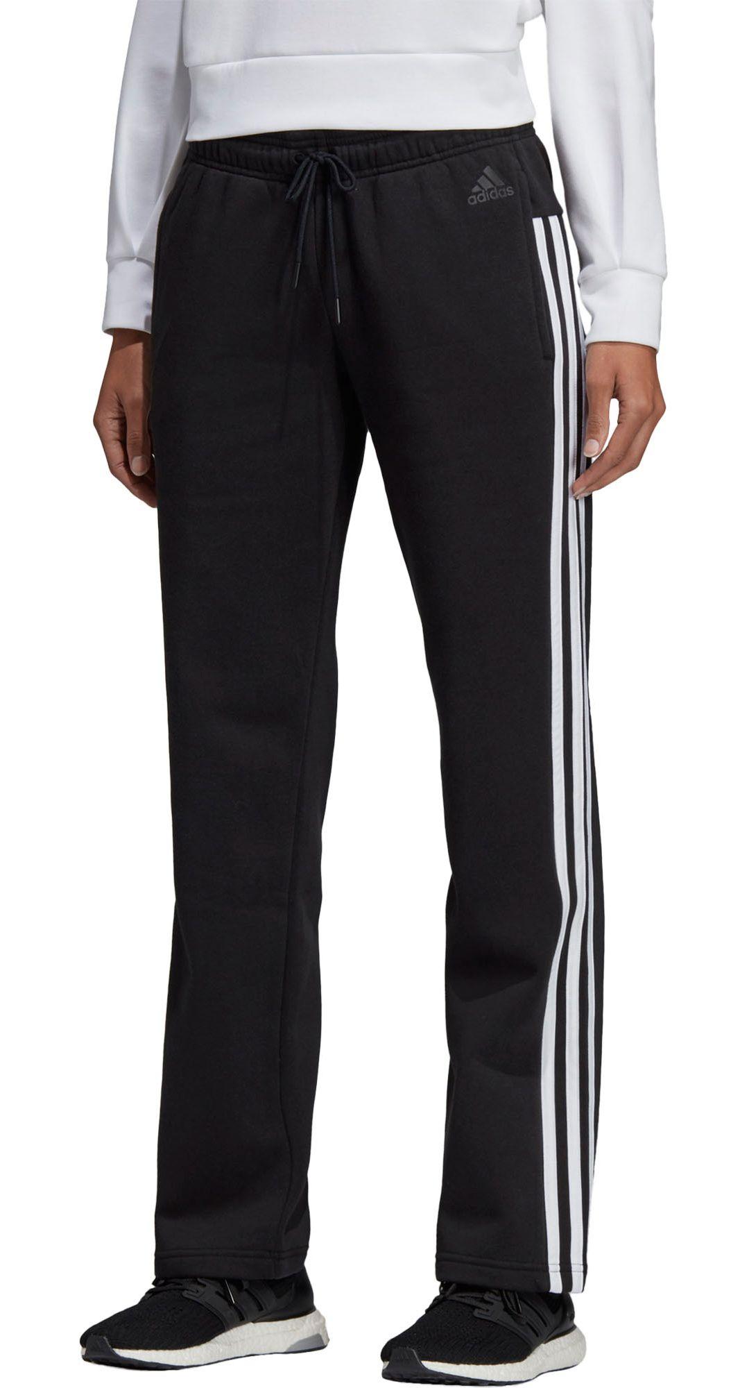 942564412 adidas Women's Cotton Fleece 3-Stripes Open Hem Pants. noImageFound.  Previous