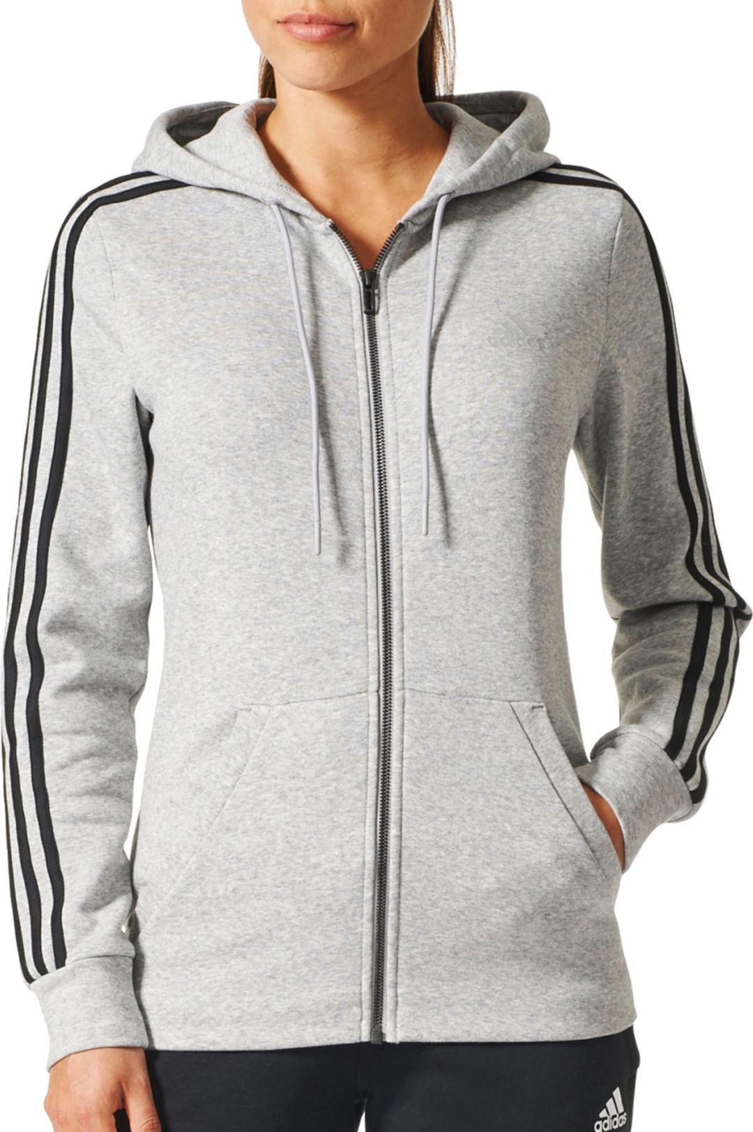 ee54bf86 adidas Women's Essentials Cotton Fleece 3-Stripes Full Zip Hoodie