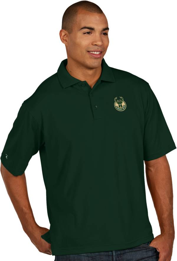 Antigua Men's Milwaukee Bucks Xtra-Lite Green Pique Performance Polo product image