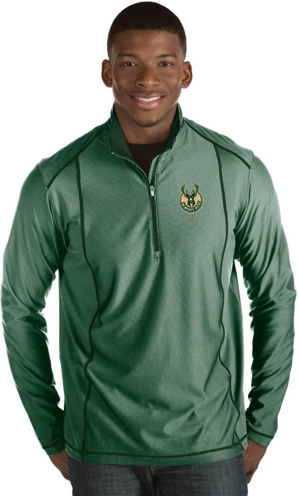 Antigua Men's Milwaukee Bucks Tempo Green Quarter-Zip Pullover product image
