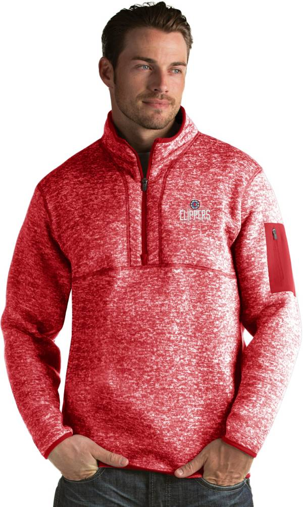 Antigua Men's Los Angeles Clippers Fortune Red Half-Zip Pullover product image