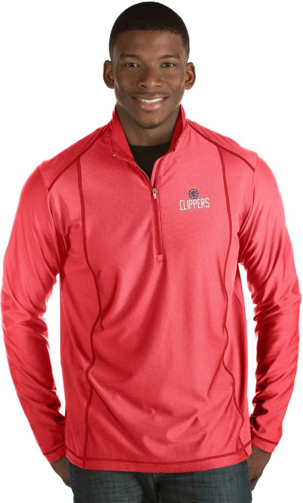Antigua Men's Los Angeles Clippers Tempo Red Quarter-Zip Pullover product image