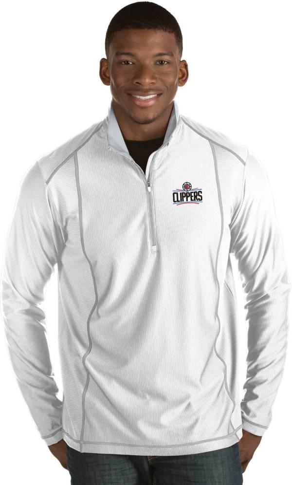 Antigua Men's Los Angeles Clippers Tempo White Quarter-Zip Pullover product image