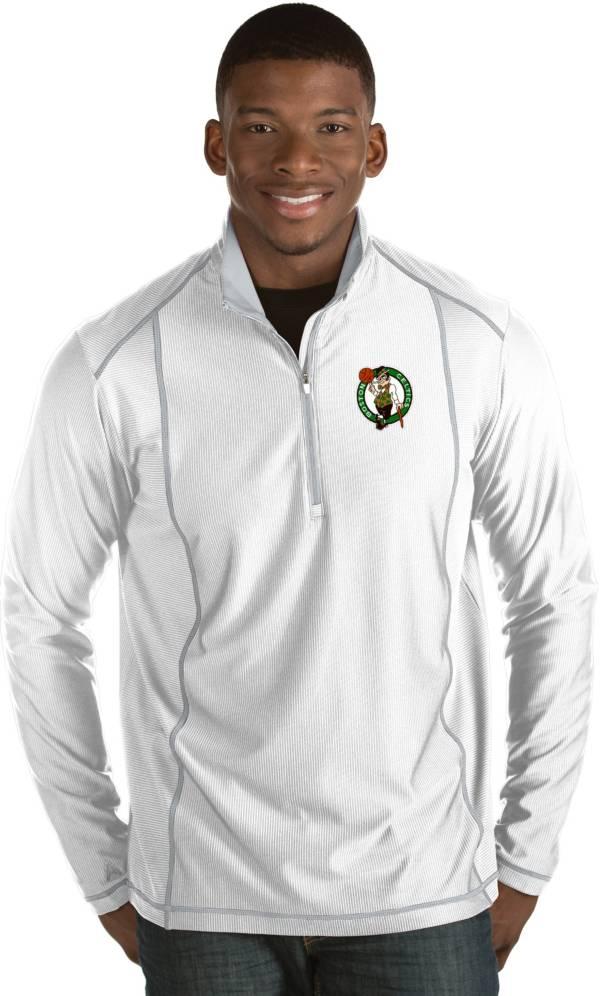 Antigua Men's Boston Celtics Tempo White Quarter-Zip Pullover product image