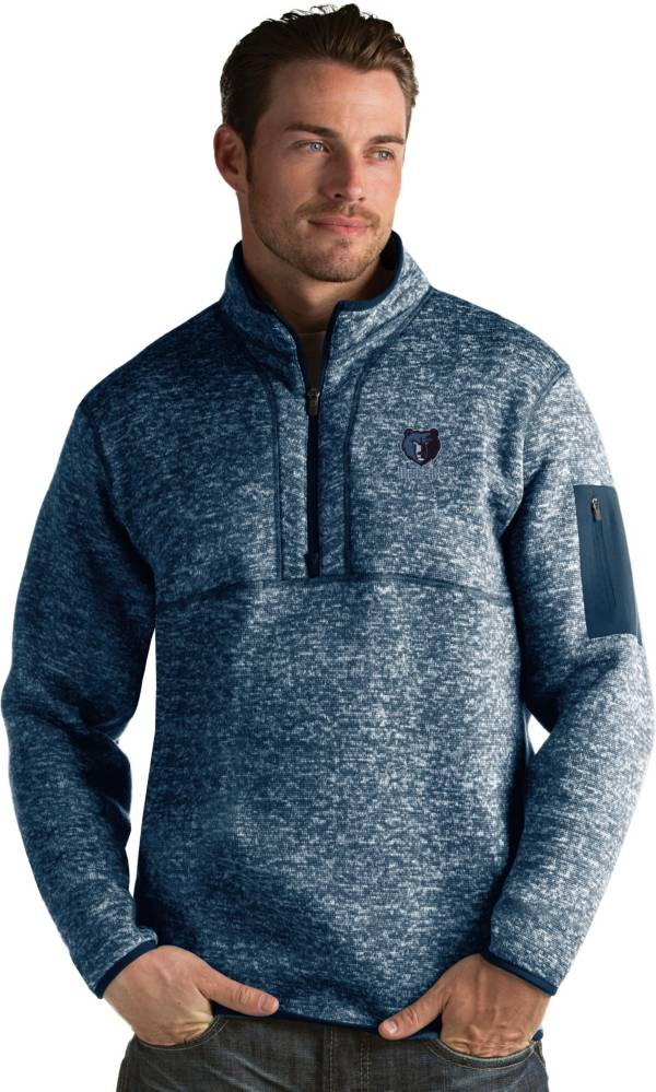 Antigua Men's Memphis Grizzlies Fortune Navy Half-Zip Pullover product image