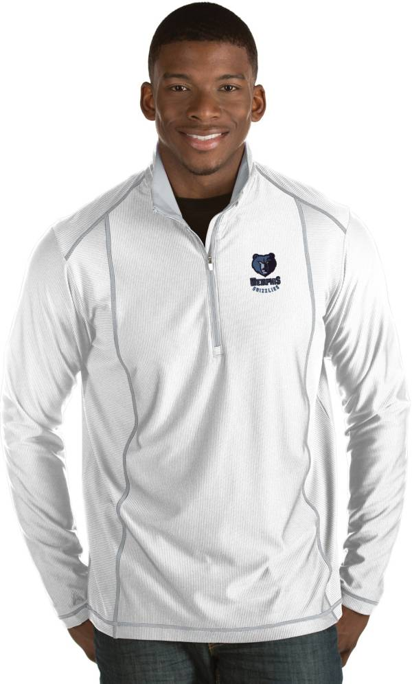 Antigua Men's Memphis Grizzlies Tempo White Quarter-Zip Pullover product image