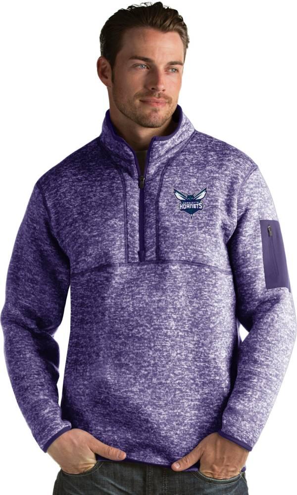 Antigua Men's Charlotte Hornets Fortune Purple Half-Zip Pullover product image