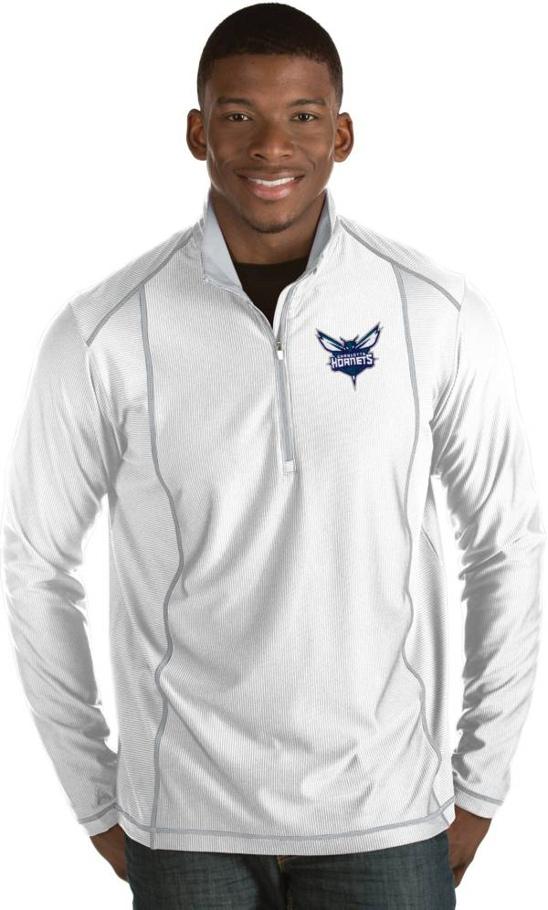 Antigua Men's Charlotte Hornets Tempo White Quarter-Zip Pullover product image
