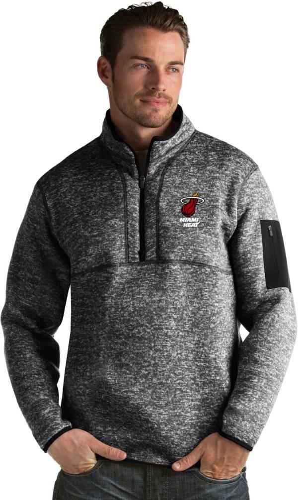Antigua Men's Miami Heat Fortune Black Half-Zip Pullover product image