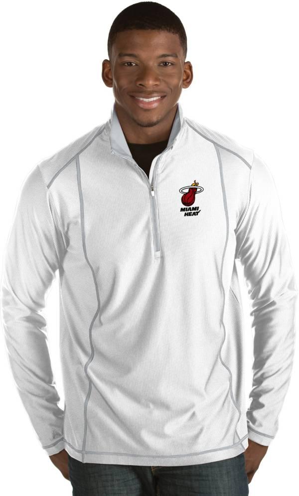 Antigua Men's Miami Heat Tempo White Quarter-Zip Pullover product image