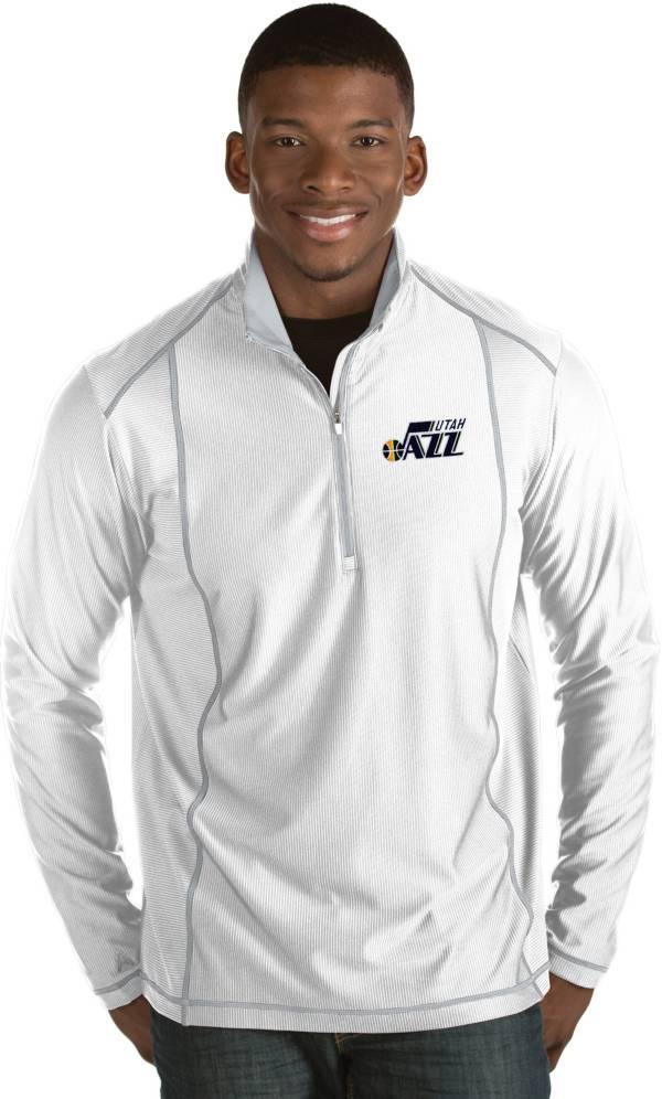 Antigua Men's Utah Jazz Tempo White Quarter-Zip Pullover product image