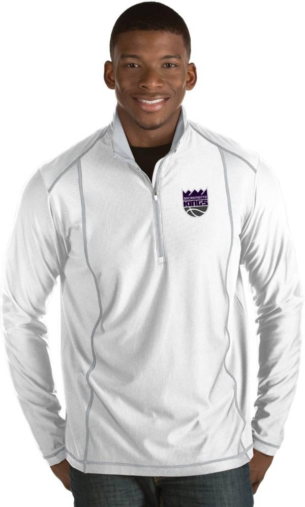 Antigua Men's Sacramento Kings Tempo White Quarter-Zip Pullover product image