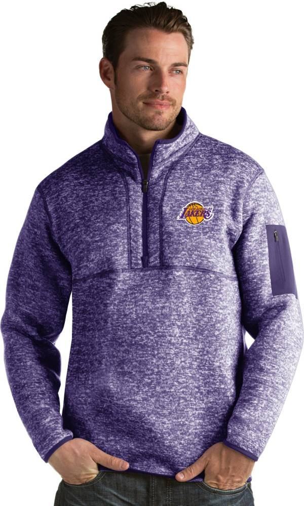 Antigua Men's Los Angeles Lakers Fortune Purple Half-Zip Pullover product image