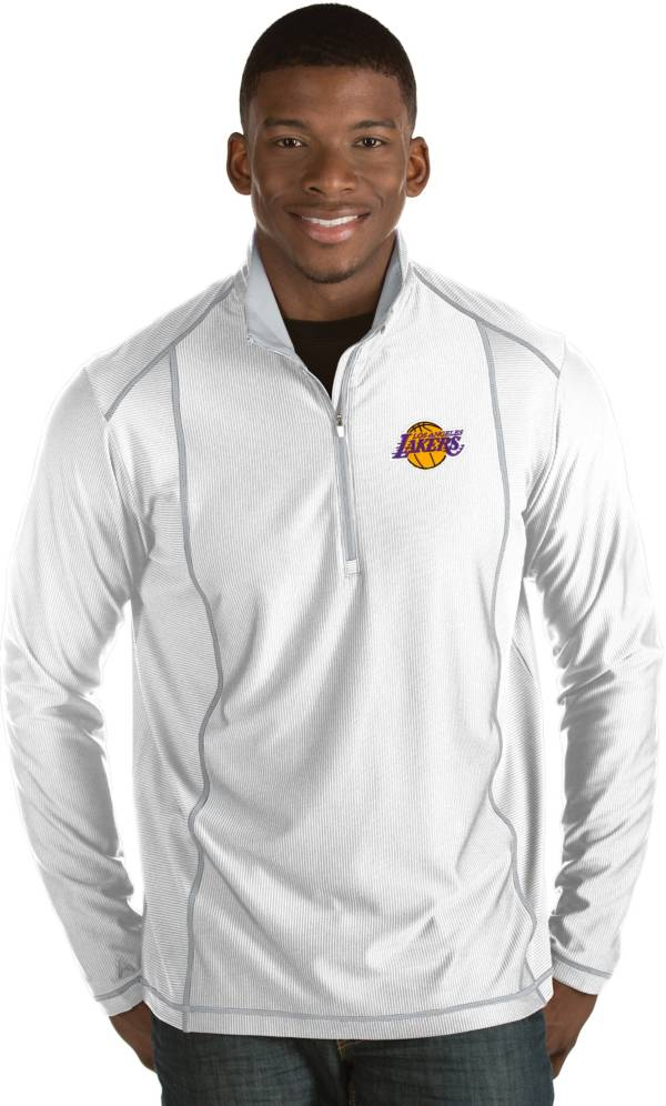 Antigua Men's Los Angeles Lakers Tempo White Quarter-Zip Pullover product image