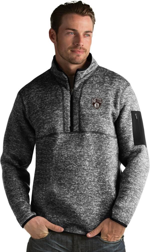 Antigua Men's Brooklyn Nets Fortune Black Half-Zip Pullover product image