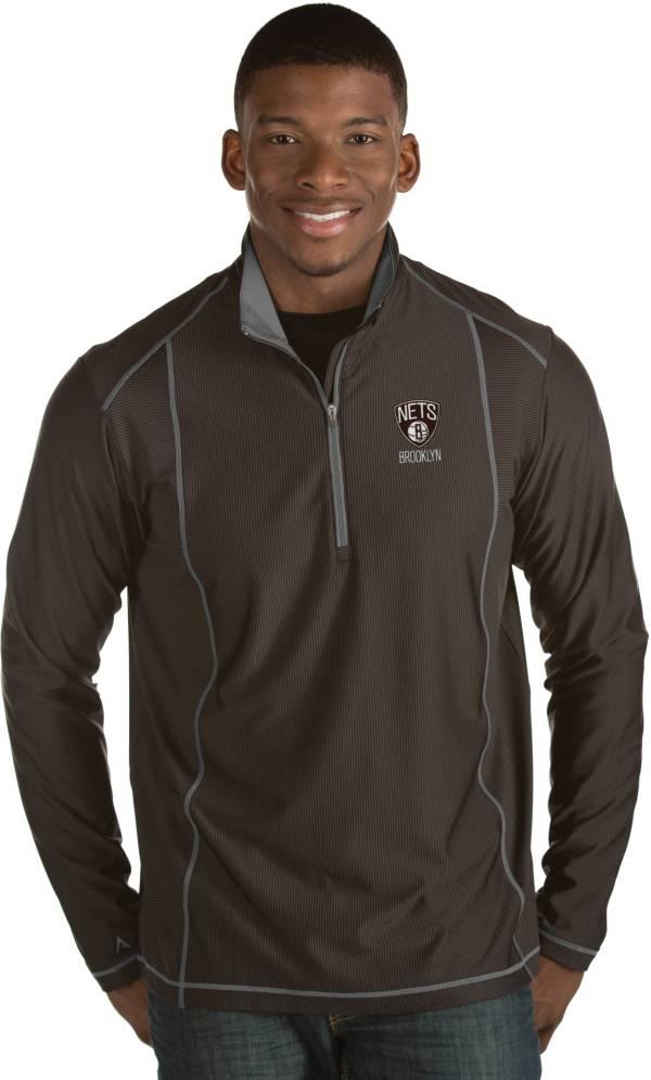 Antigua Men's Brooklyn Nets Tempo Black Quarter-Zip Pullover product image