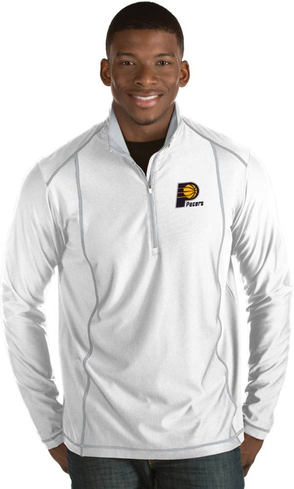 Antigua Men's Indiana Pacers Tempo White Quarter-Zip Pullover product image