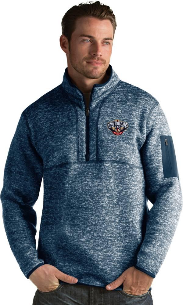 Antigua Men's New Orleans Pelicans Fortune Navy Half-Zip Pullover product image
