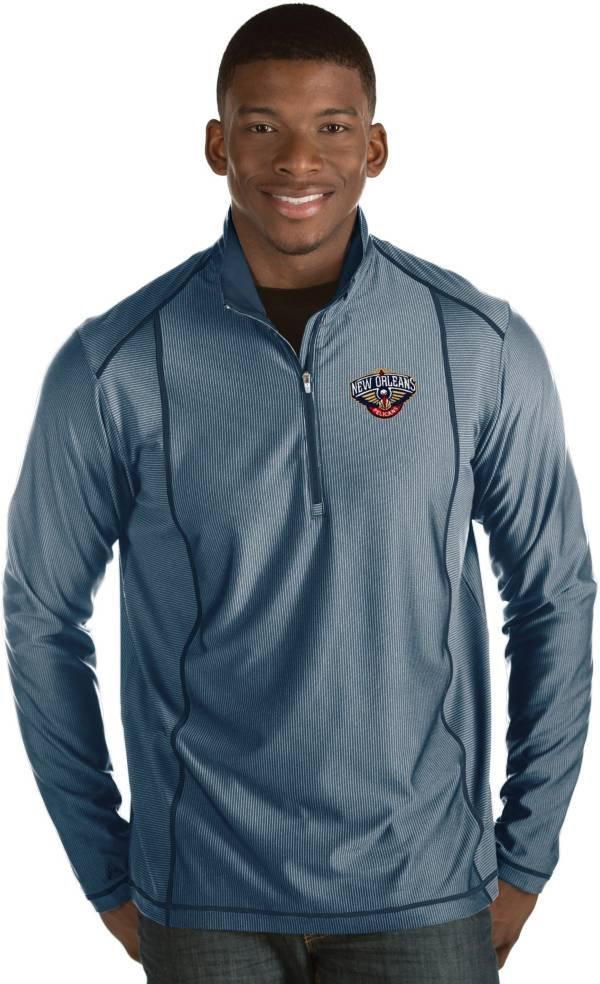 Antigua Men's New Orleans Pelicans Tempo Navy Quarter-Zip Pullover product image