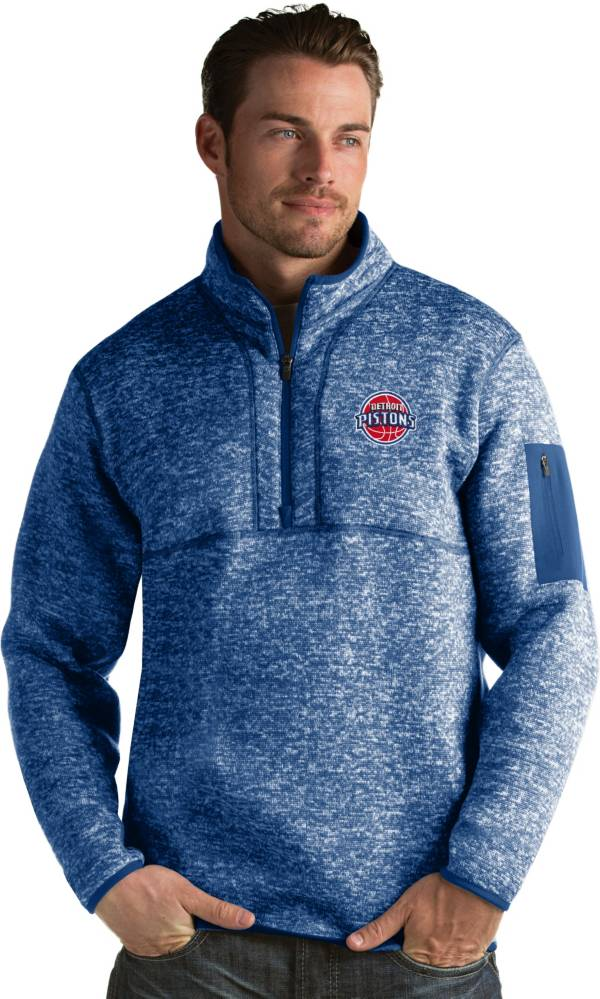 Antigua Men's Detroit Pistons Fortune Royal Half-Zip Pullover product image
