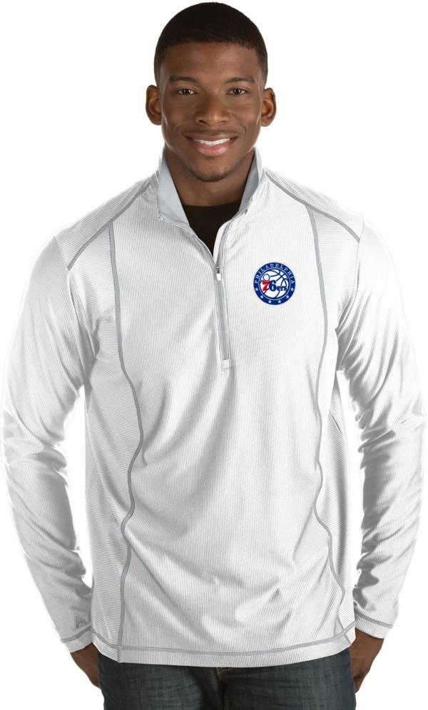 Antigua Men's Philadelphia 76ers Tempo White Quarter-Zip Pullover product image