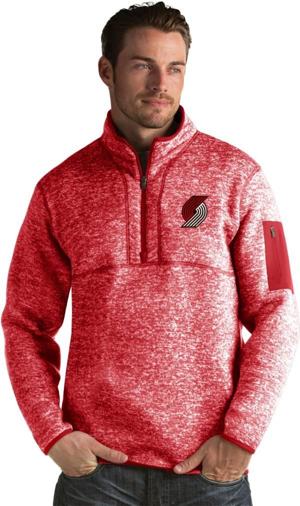 Antigua Men's Portland Trail Blazers Fortune Red Half-Zip Pullover product image