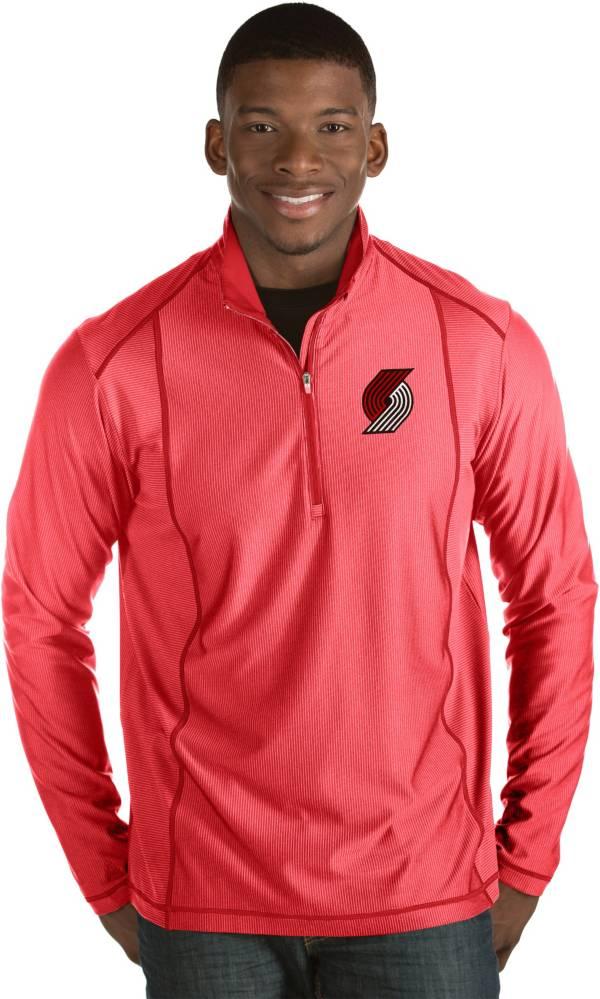 Antigua Men's Portland Trail Blazers Tempo Red Quarter-Zip Pullover product image