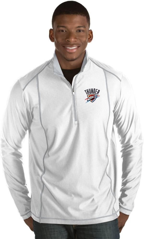 Antigua Men's Oklahoma City Thunder Tempo White Quarter-Zip Pullover product image