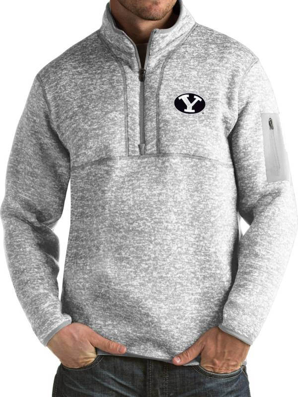 Antigua Men's BYU Cougars Grey Fortune Pullover Jacket product image
