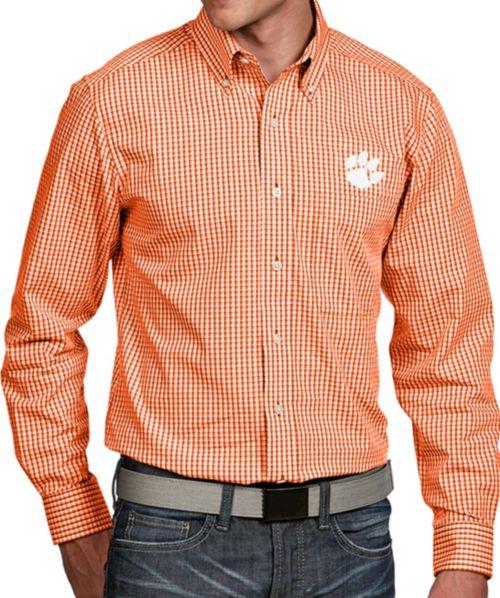 2456569d Antigua Men's Clemson Tigers Orange Associate Button Down Long ...