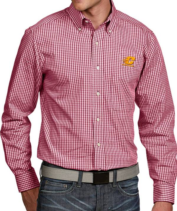 Antigua Men's Central Michigan Chippewas Maroon Associate Button Down Long Sleeve Shirt product image