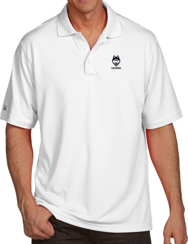 Antigua Men's UConn Huskies White Pique Xtra-Lite Polo product image