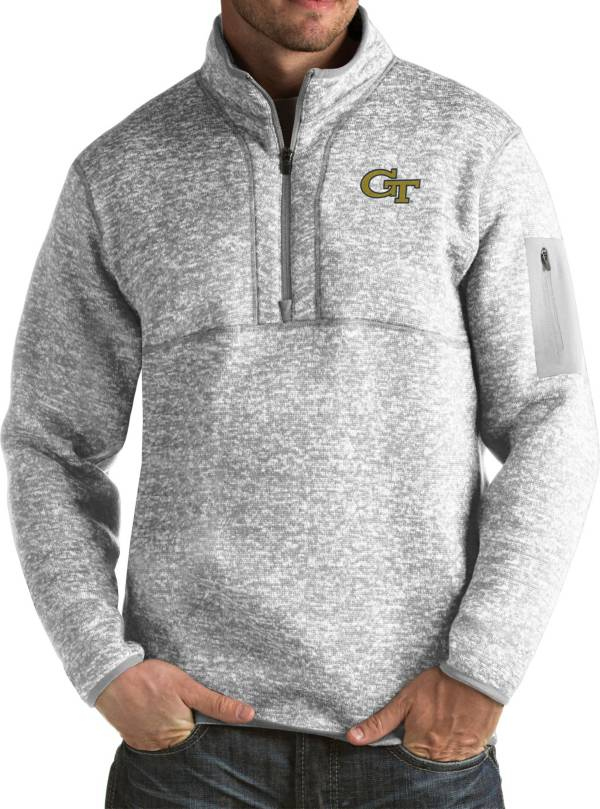 Antigua Men's Georgia Tech Yellow Jackets Grey Fortune Pullover Jacket product image