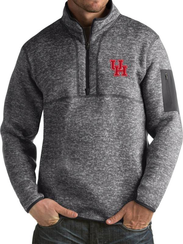 Antigua Men's Houston Cougars Grey Fortune Pullover Jacket product image
