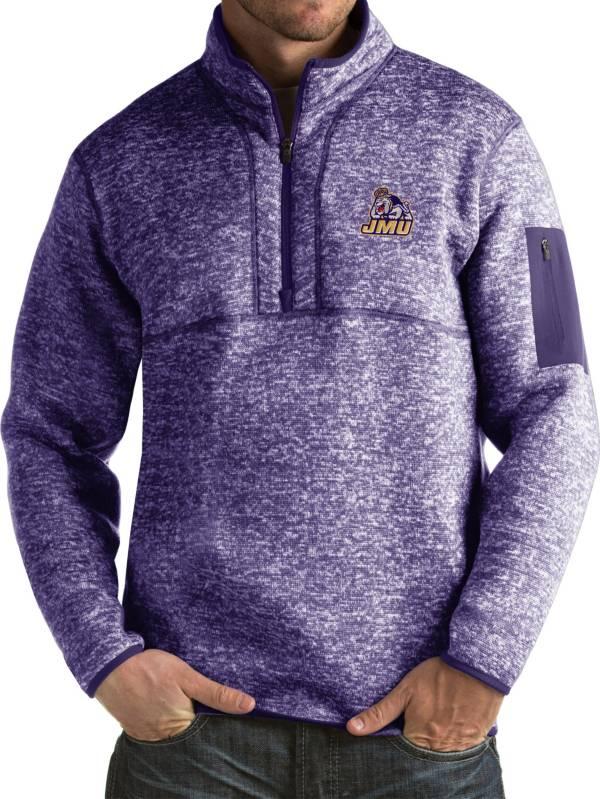 Antigua Men's James Madison Dukes Purple Fortune Pullover Jacket product image