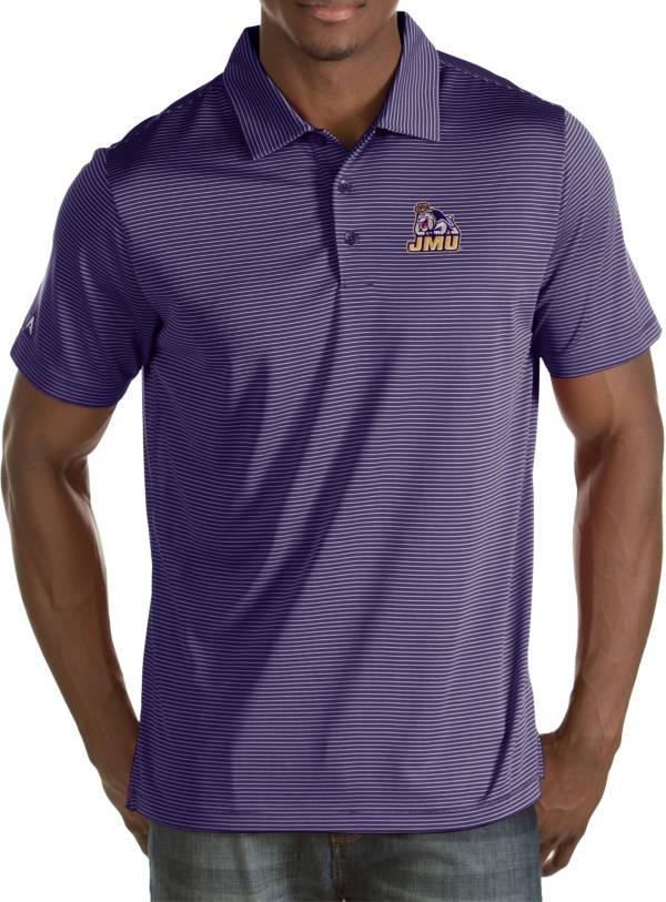 Antigua Men's James Madison Dukes Purple Quest Polo product image