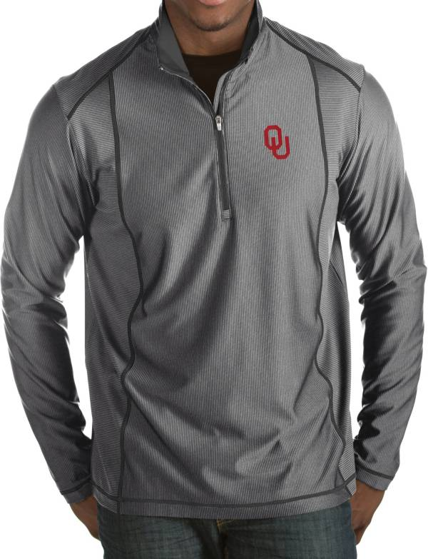 Antigua Men's Oklahoma Sooners Grey Tempo Half-Zip Pullover product image
